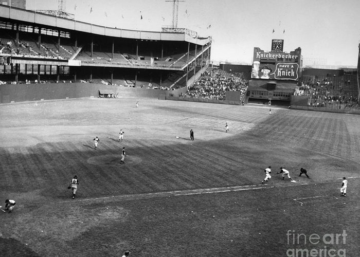 1957 Greeting Card featuring the photograph New York: Polo Grounds by Granger