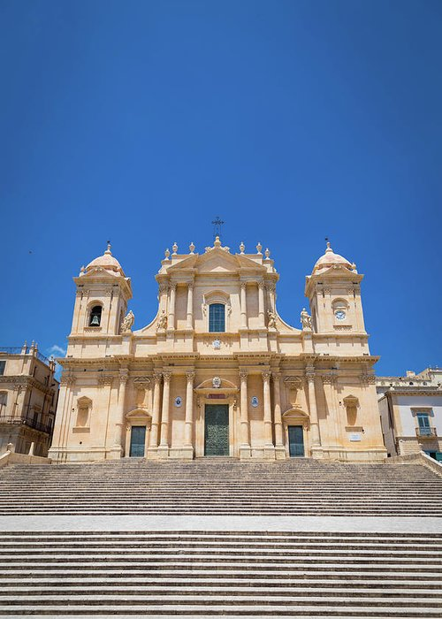 Architecture Greeting Card featuring the photograph Noto, Sicily, Italy - San Nicolo Cathedral, Unesco Heritage Site by Paolo Modena