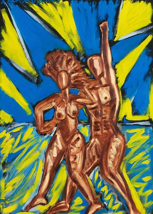 Figure Greeting Card featuring the painting 2 Nude Dancers by Albert Almondia