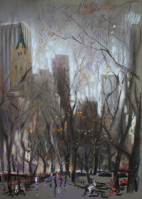 Ny City Greeting Card featuring the pastel Nyc Central Park by Ylli Haruni