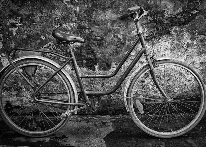 Buenos Aires Greeting Card featuring the photograph Old Bike by Hans Wolfgang Muller Leg