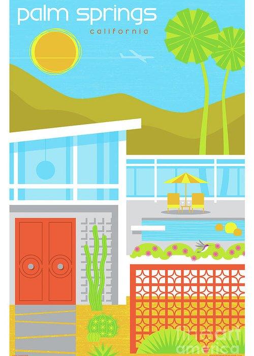 Pop Art Greeting Card featuring the digital art Palm Springs Poster - Retro Travel by Jim Zahniser