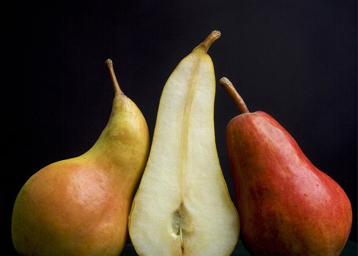 Studio Shot Greeting Card featuring the photograph Pears by Bernard Jaubert