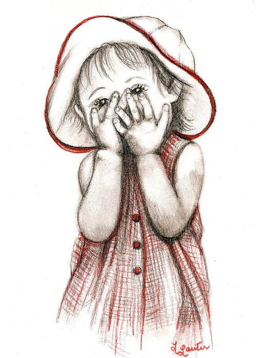 Child Portraits Greeting Card featuring the drawing Peek A Boo by L Lauter