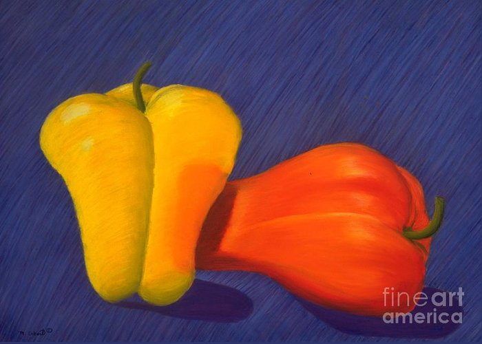Vegetable Greeting Card featuring the painting 2 Peppers by Mary Erbert