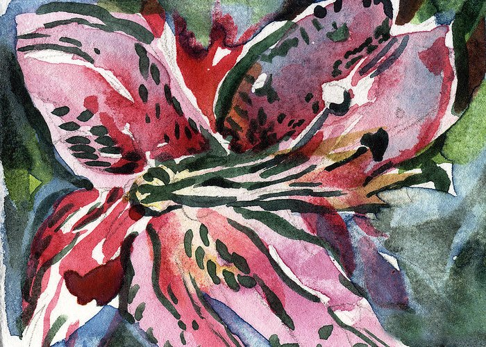 Pink Greeting Card featuring the painting Pink Day Lily by Mindy Newman