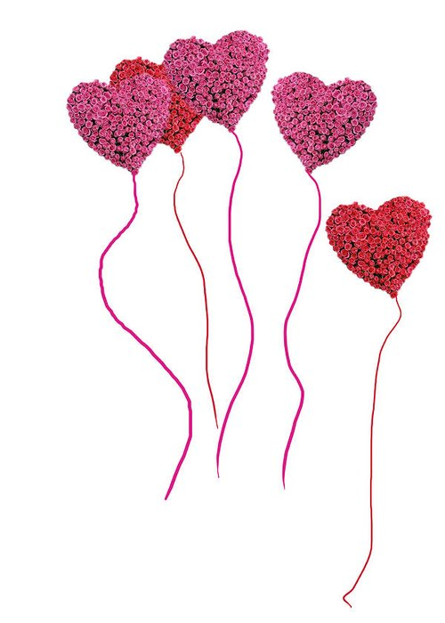 Adore Greeting Card featuring the photograph Pink Roses In Heart Shape Balloons by Michael Ledray