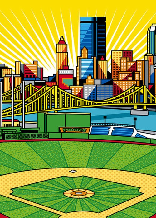 Pnc Park Greeting Card featuring the digital art Pnc Park Gold Sky by Ron Magnes
