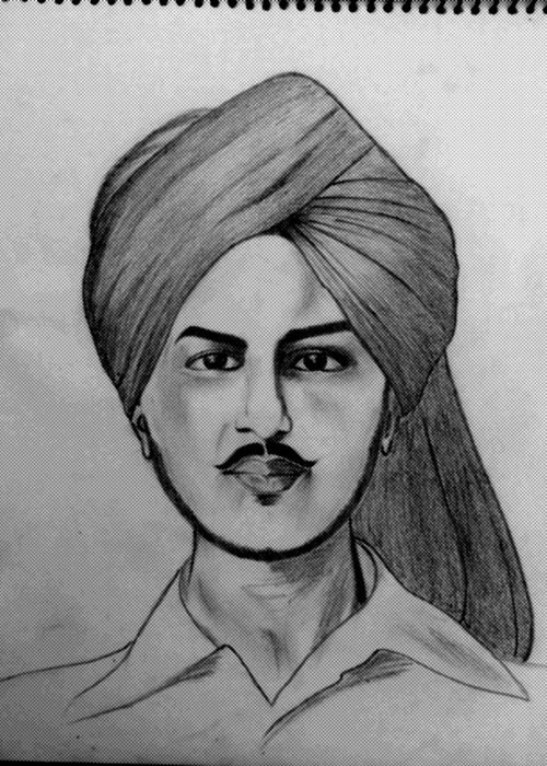 Greeting Card featuring the drawing Portrait Art by Kirandeep Kaur