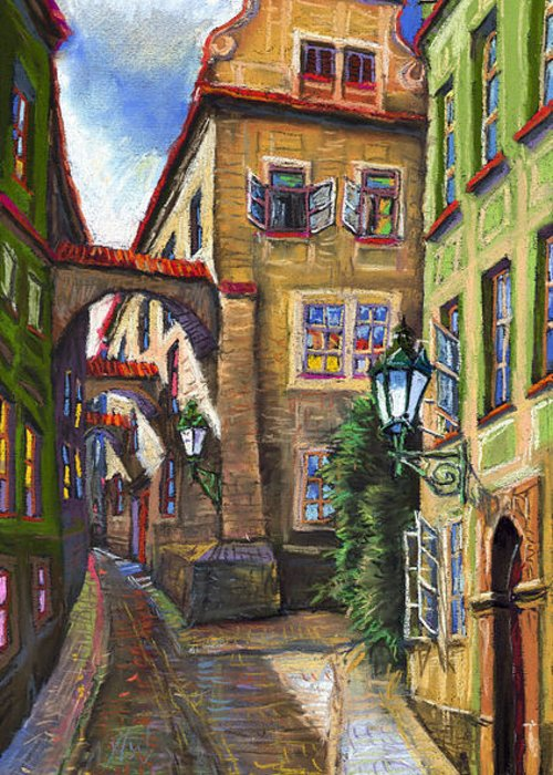 Prague Greeting Card featuring the painting Prague Old Street by Yuriy Shevchuk