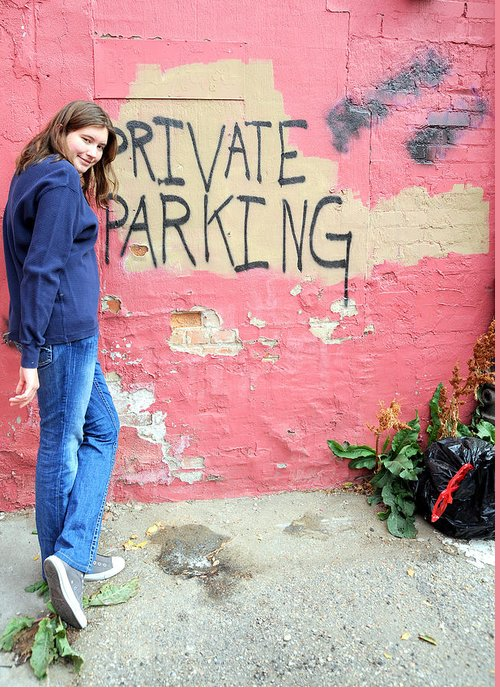 Female Greeting Card featuring the photograph Private Parking. by Oscar Williams