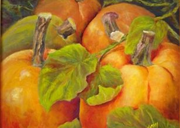 Pumpkins Greeting Card featuring the painting Pumpkins by Elisabeth Vismans