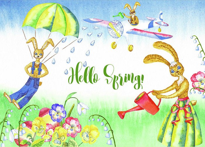 Lily Of The Valley Greeting Card featuring the digital art Rabbits and Flowers by Natalia Piacheva