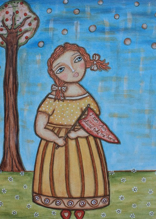 Folk Art Painting Greeting Card featuring the painting Raggedy Ann by Rain Ririn