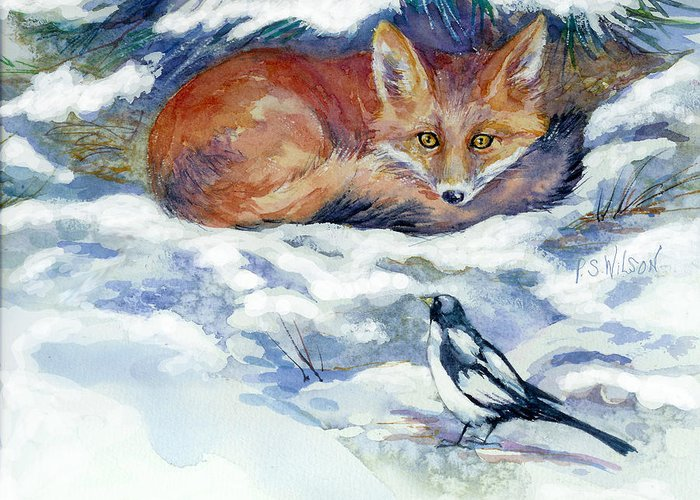Red Fox Greeting Card featuring the painting Red Fox With Magpie by Peggy Wilson