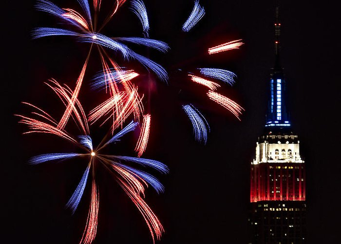 Empire State Building Greeting Card featuring the photograph Red White And Blue by Susan Candelario