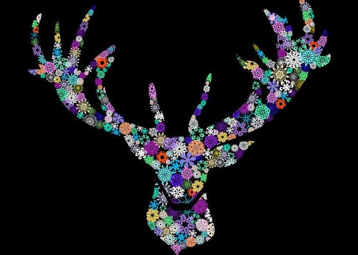 Animal Greeting Card featuring the digital art Reindeer Design By Snowflakes by Setsiri Silapasuwanchai