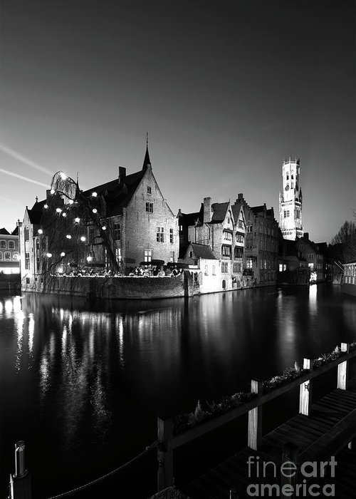 Rozenhoedkaai Area Greeting Card featuring the photograph River Dijver And The Belfort At Night, Rozenhoedkaai, Bruges by Dave Porter