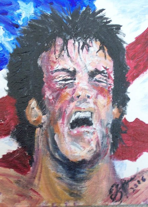Stallone Greeting Card featuring the painting Rocky by Francis Bourque