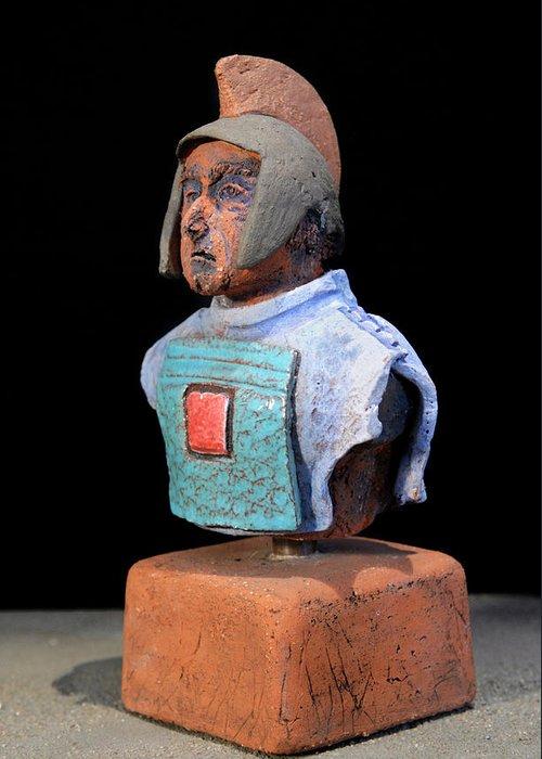 Warriors Greeting Card featuring the sculpture Roman Legionaire - Warrior - Ancient Rome - Roemer - Romeinen - Antichi Romani - Romains - Romarere by Urft Valley Art