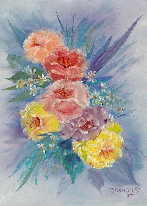 Roses Greeting Card featuring the painting Roses by Quwatha Valentine