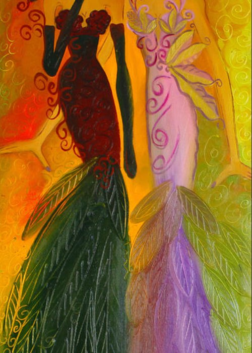 Haute Couture Artwork Greeting Card featuring the painting Ruby And April by Helen Gerro