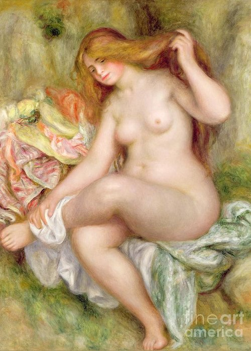 Seated Greeting Card featuring the painting Seated Bather by Pierre Auguste Renoir