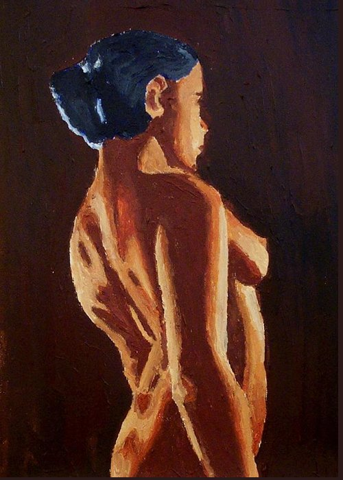 Nude Greeting Card featuring the painting Shadows by Mats Eriksson