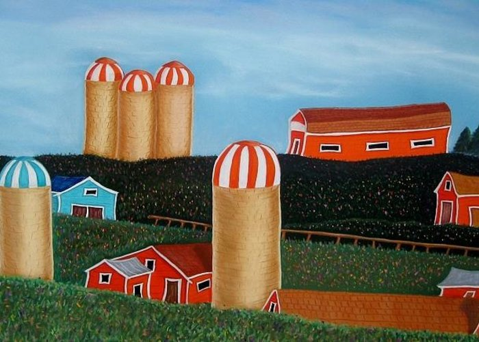 Silos Greeting Card featuring the pastel Silos Of Skye Glen by Judi Schultze