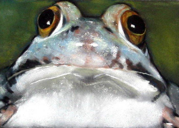 Frog Wildlife Pond Realism Pastels Froggie Toad Greeting Card featuring the pastel Sir Frog by Joyce Geleynse