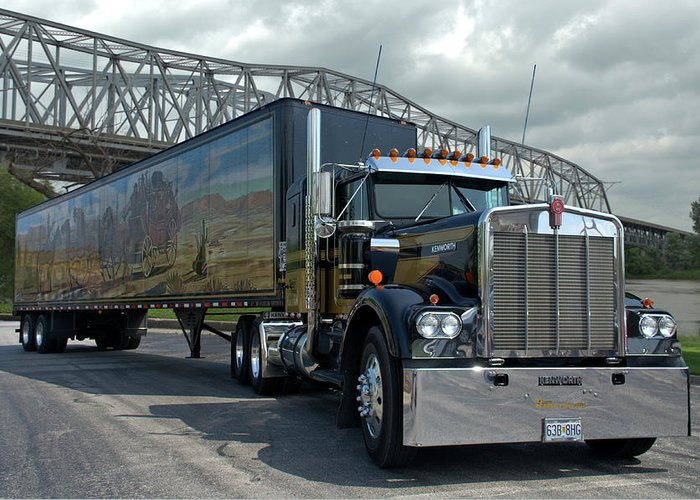 smokey and the bandit tribute 1973 kenworth w900 black and gold semi truck greeting card for. Black Bedroom Furniture Sets. Home Design Ideas