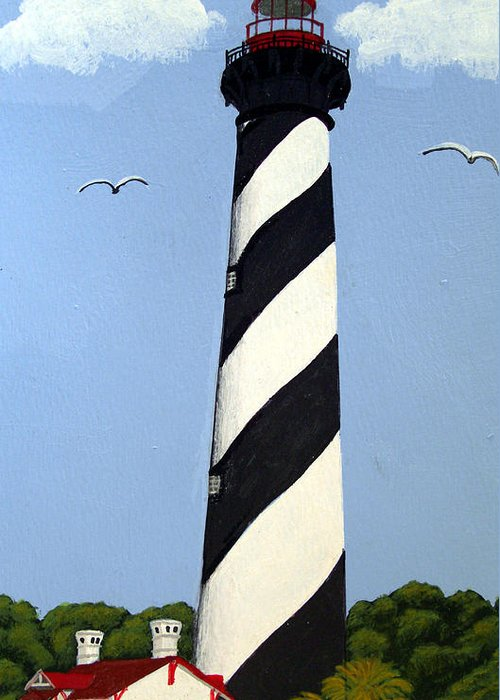 Lighthouse Paintings Greeting Card featuring the painting St Augustine Lighthouse by Frederic Kohli