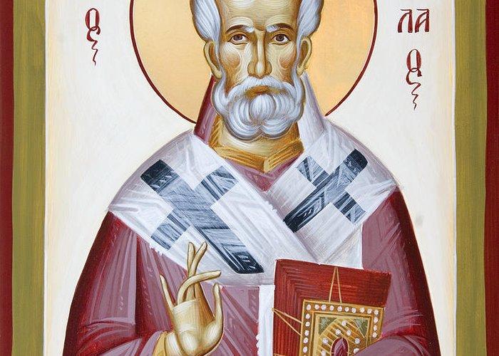 St Nicholas Of Myra Greeting Card featuring the painting St Nicholas Of Myra by Julia Bridget Hayes