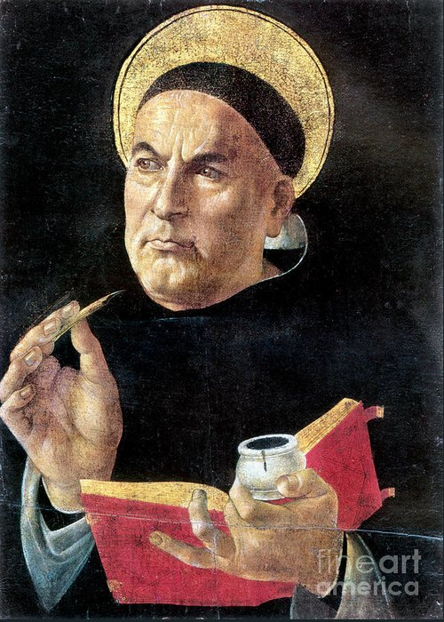 15th Century Greeting Card featuring the painting St. Thomas Aquinas by Granger