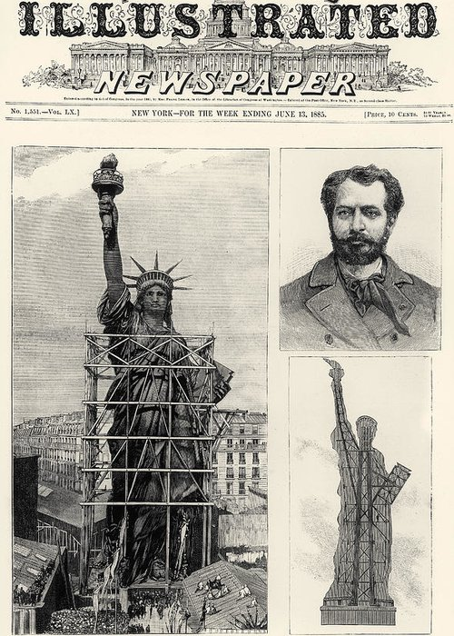 1885 Greeting Card featuring the photograph Statue Of Liberty, 1885 by Granger