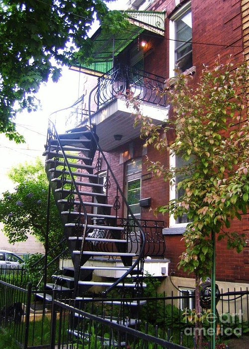 Stairs Balcony Windows House Trees Street Scene Garden Greeting Card featuring the photograph Streets Of Montreal by Reb Frost