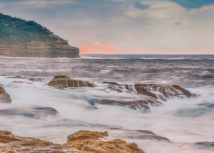 Australia Greeting Card featuring the photograph Sunrise Seascape And Headland by Merrillie Redden