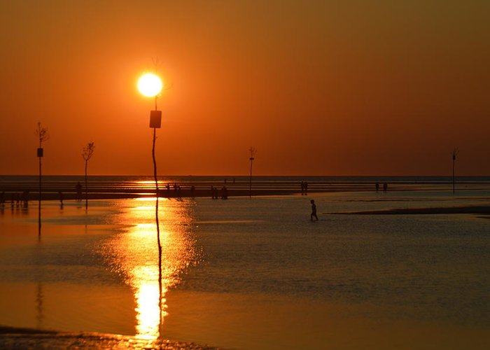 Sunset Greeting Card featuring the photograph Sunset At Rock Harbor by Kate Scott