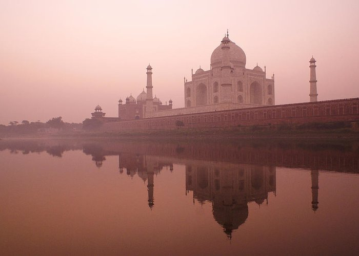 Taj Mahal Greeting Card featuring the photograph Taj Mahal At Dawn by Michele Burgess