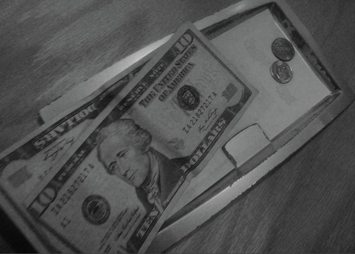 Black And White Print Greeting Card featuring the photograph 2 Tens 1 Dime 1 Penny 2011 by WaLdEmAr BoRrErO