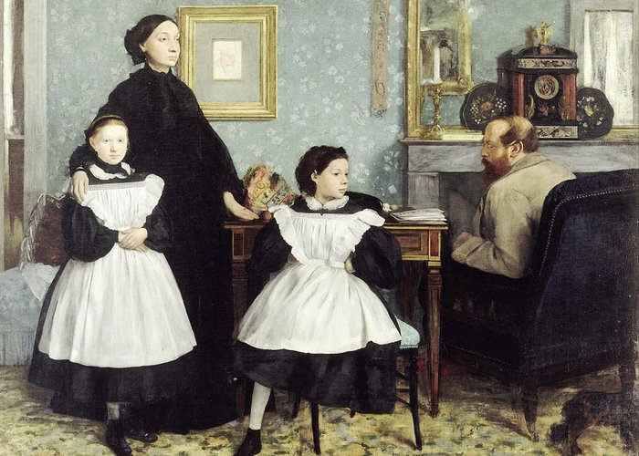 Edgar Degas (1834 - 1917) - The Bellelli Family Greeting Card featuring the painting The Bellelli Family by MotionAge Designs