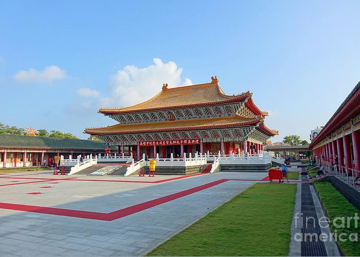 Taiwan Greeting Card featuring the photograph The Confucius Temple In Kaohsiung, Taiwan by Yali Shi