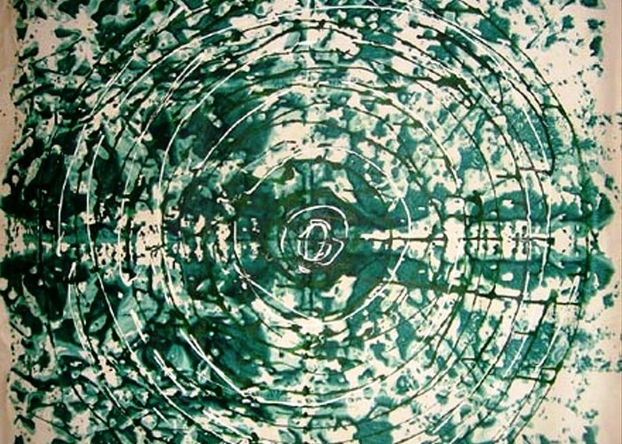 Circle Abstract Greeting Card featuring the painting The Eternal Circle by Baljit Chadha