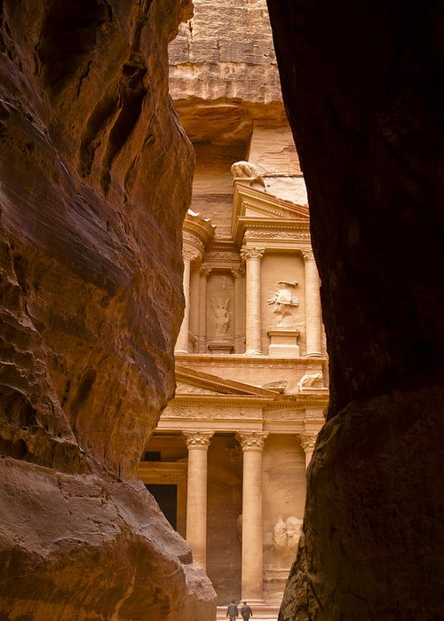 Middle East Greeting Card featuring the photograph The Treasury Of Petra by Michele Burgess