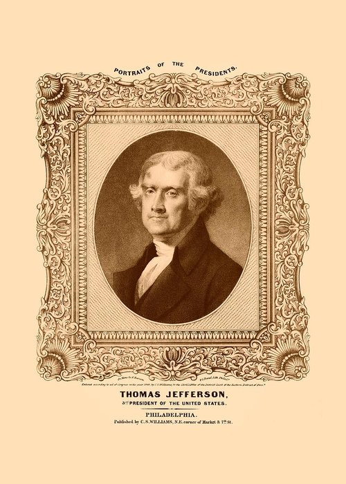 Thomas Jefferson Greeting Card featuring the drawing Thomas Jefferson by War Is Hell Store