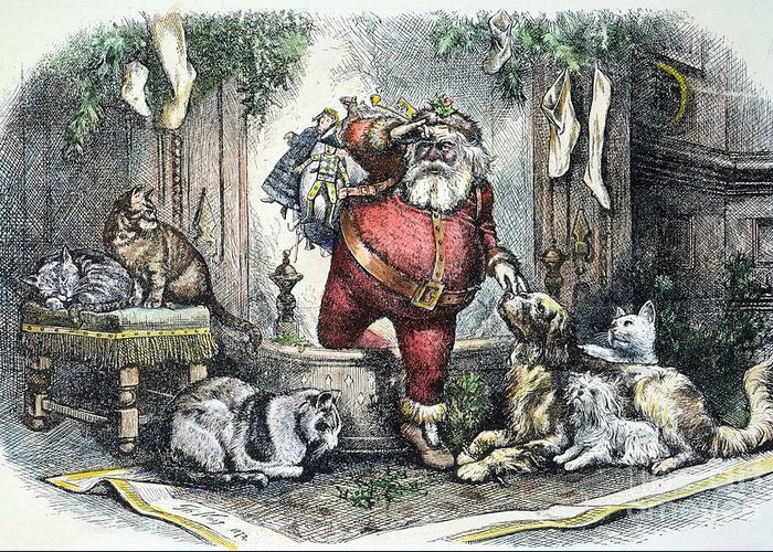 1872 Greeting Card featuring the photograph Thomas Nast: Santa Claus by Granger