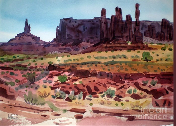 Monument Valley Greeting Card featuring the painting Totem Poles by Donald Maier