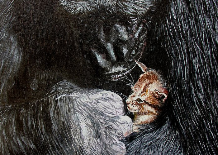 Gorillia Greeting Card featuring the painting Tribute to Koko by Stan Hamilton