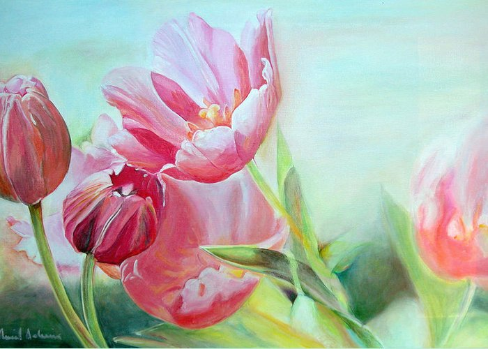 Floral Painting Greeting Card featuring the painting Tulipes by Muriel Dolemieux