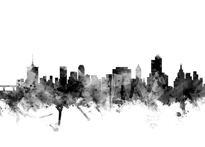 united States Greeting Card featuring the digital art Tulsa Oklahoma Skyline by Michael Tompsett